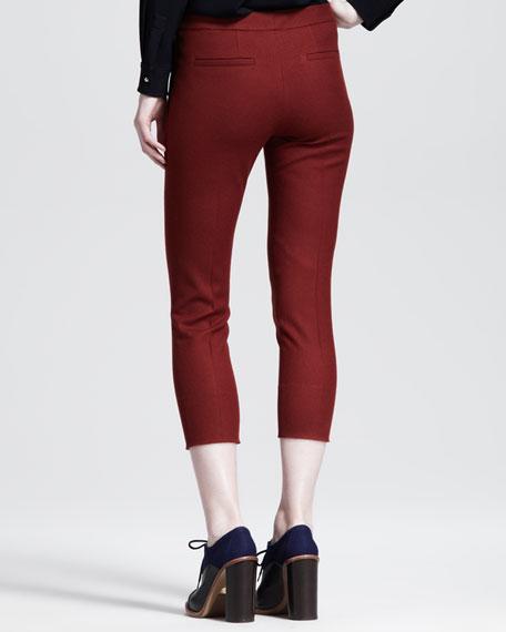 Cropped Wool Skinny Pants, Rust