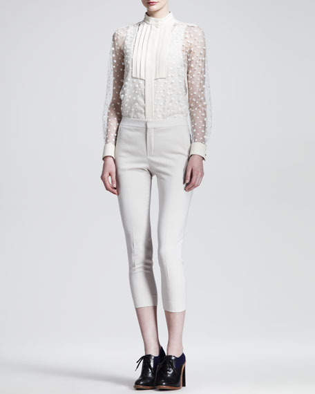 Cropped Stretch-Wool Skinny Pants