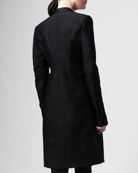 Wool Tab-Closure Tuxedo Coat