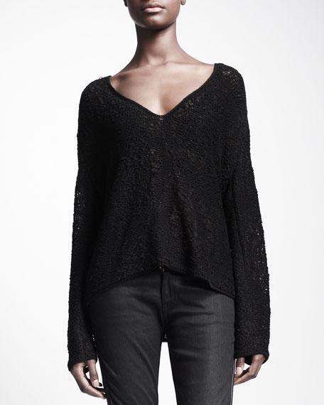 V-Neck Macrame Sweater