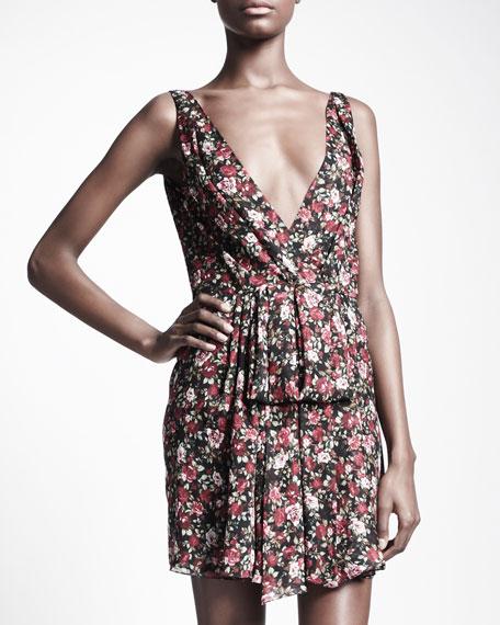 Floral-Print V-Back Dress