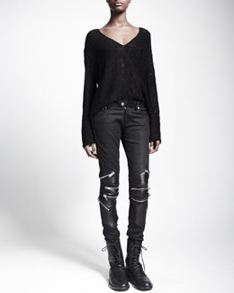 Saint Laurent Zip-Detail Leather-Knee Jeans