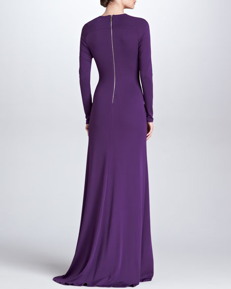 Sheer-Inset Long-Sleeve Gown, Royal Purple