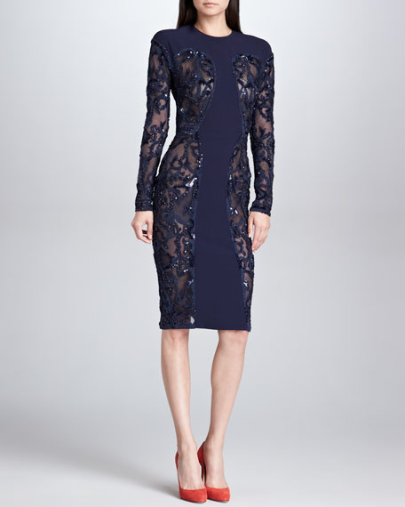 Sequined Sheer-Panel Dress, Navy