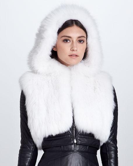 Shadow Fox Fur Hooded Bolero, White