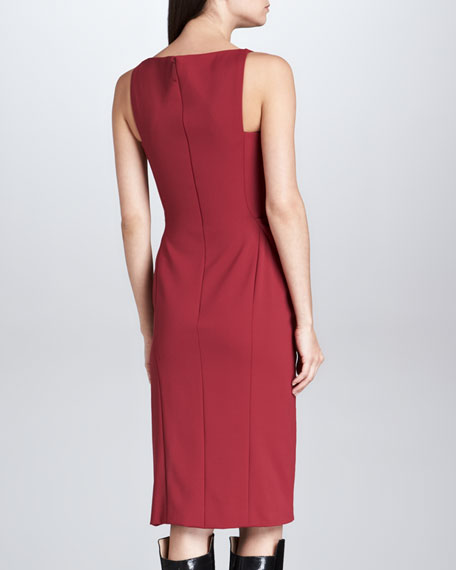 Boat-Neck Fitted Sheath Dress, Bordeaux