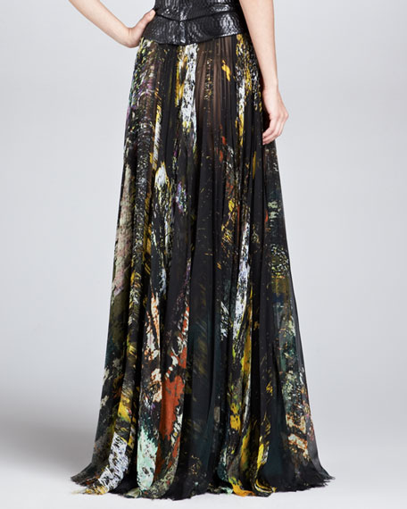 Abstract-Print Pleated Silk Maxi Skirt