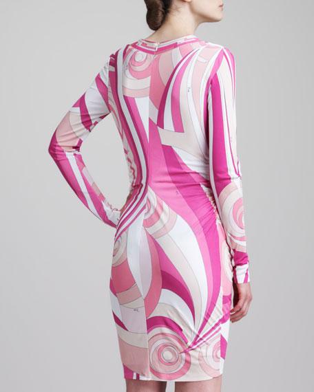 Shirred-Side Square-Neck Print Dress, Pink