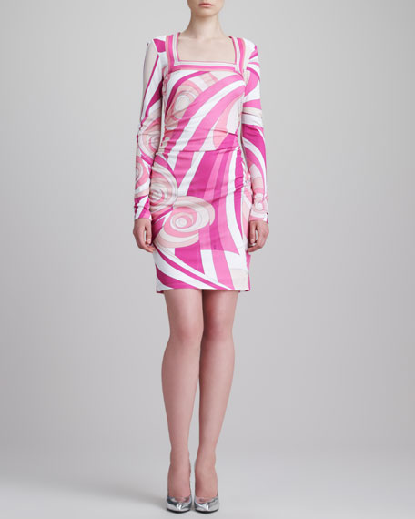 Shirred-Side Square-Neck Print Dress, Pink