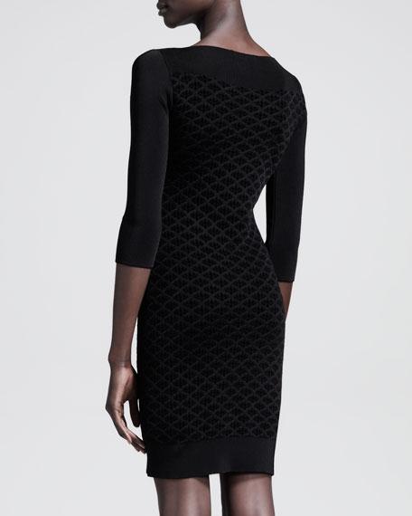 Velvet Grid-Print Dress