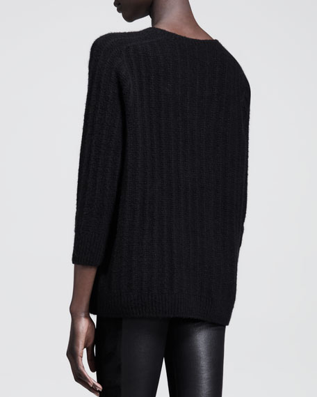 Textured Cashmere-Silk Crewneck Sweater