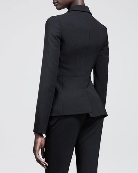 Seamed Single-Button Gabardine Jacket