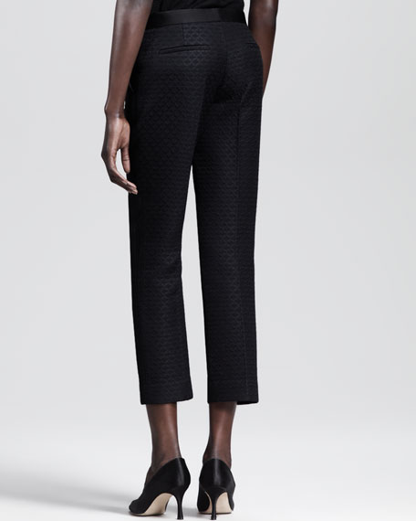 Leaf-Jacquard Cropped Pants