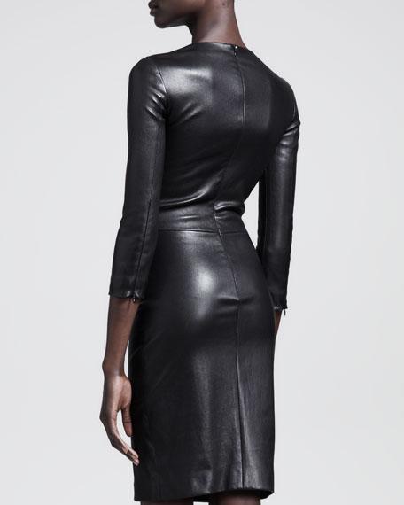 Shiny Stretch-Leather Dress, Black