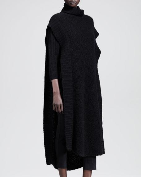 Long Split Sleeveless Turtleneck Dress