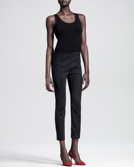 Seamed Stretch Poplin Skinny Pants