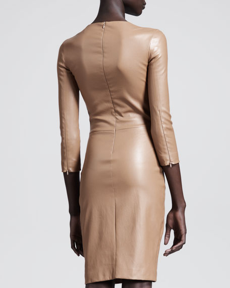 Shiny Stretch-Leather Dress, Praline