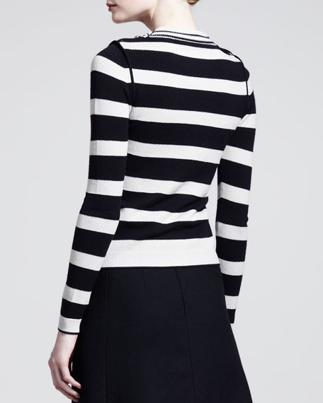 Striped Waffle-Knit Button-Shoulder Top