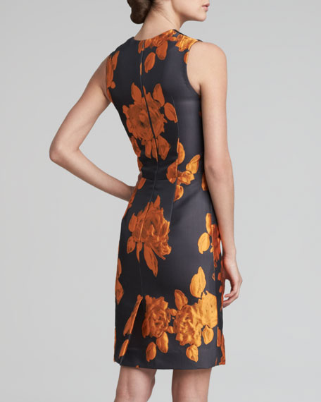 Rose Jacquard Sheath Dress, Tangerine/Black