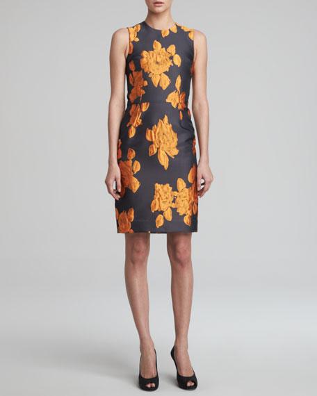 Rose Jacquard Sheath Dress, Tangerine/Black