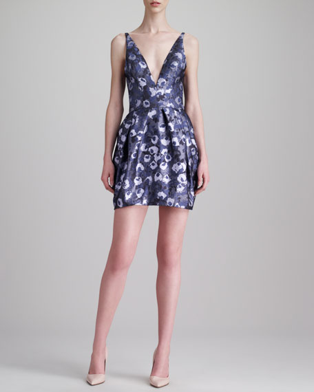 Plunging Floral Jacquard Dress, Lavender