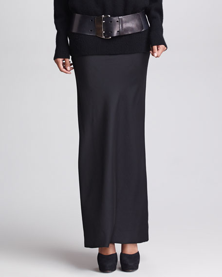 Bias-Seamed Satin-Front Skirt, Black