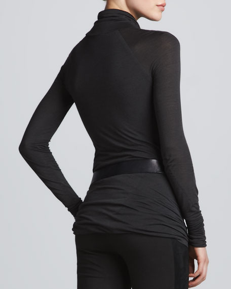 Draped Long-Sleeve Turtleneck, Gunmetal