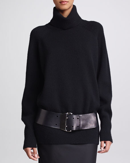 Merino/Cashmere Turtleneck, Black