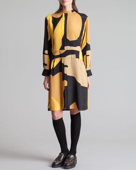 Printed Mandarin Collar Dress, Gold Sand