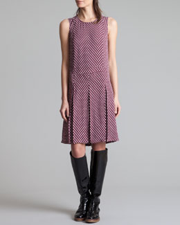 Marni Houndstooth-Print Pleated Dress, Wine/White