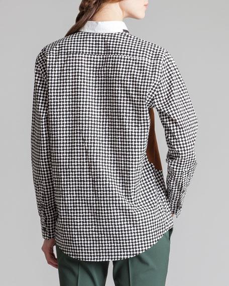 Printed Cotton Poplin Blouse, Black/White/Multi