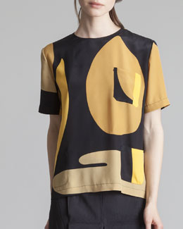 Marni Crepe de Chine Pocket Tee, Gold Sand