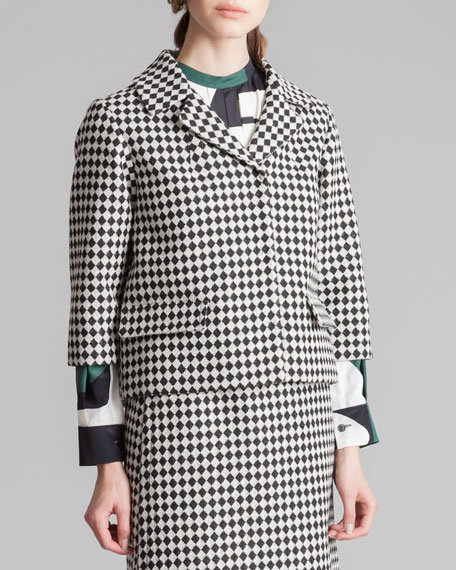 Cropped Check Jacket, Black/White