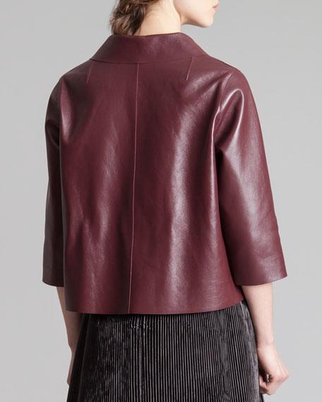 Cropped Leather 3/4-Sleeve Jacket, Bordeaux