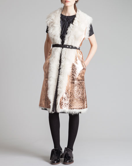 Shearling-Lined Metallic Leather Gilet, Rose