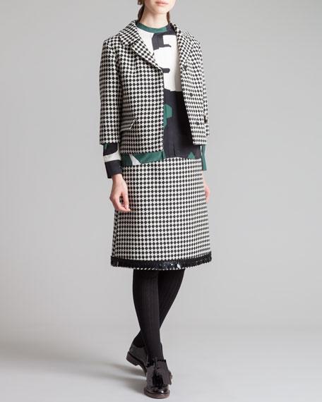 A-Line Check Skirt, Black/White