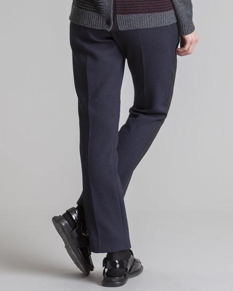 Straight-Leg Tuxedo Pants, Blue/Black