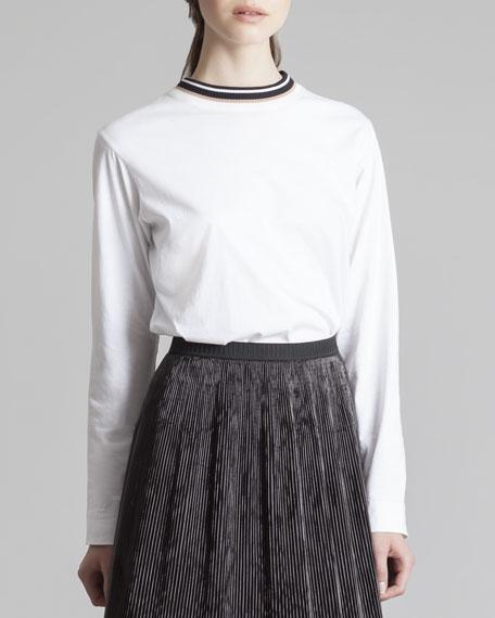 Long-Sleeve Stripe-Neck Tee, White