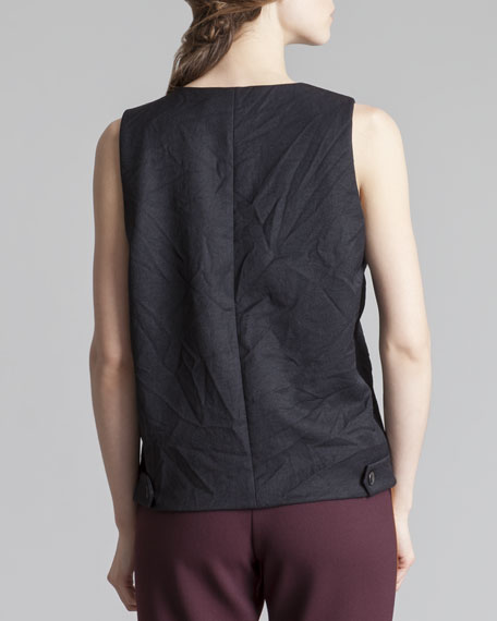 Tabbed Sleeveless Top, Coal