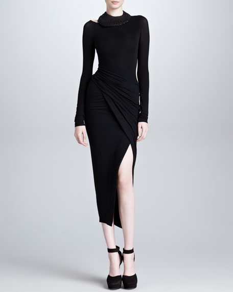 Spiral Draped Body-Conscious Dress, Black