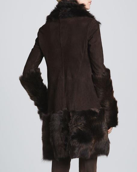 Draped Suede Jacket, Chestnut