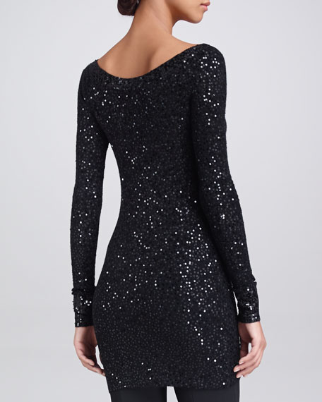 Sequined Cashmere Wide-Neck Top, Black