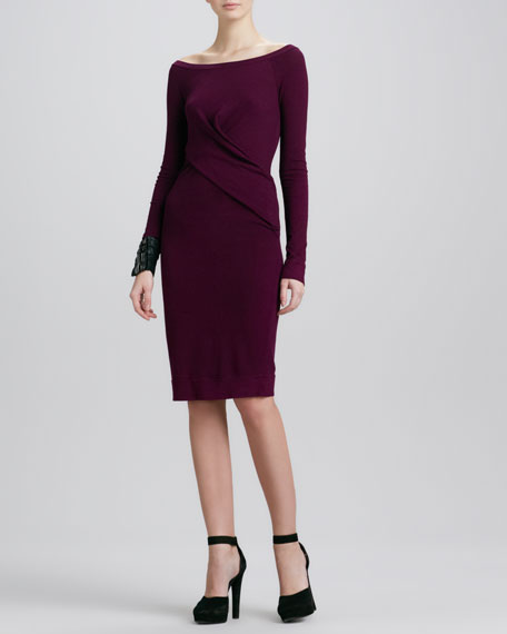 Asymmetric Long-Sleeve Drape Dress, Amethyst