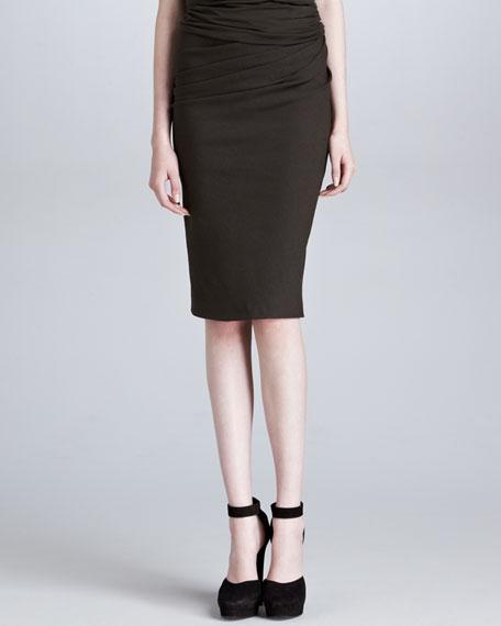 Pull-On Side-Draped Skirt, Burnt Umber