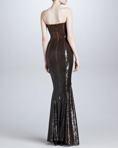 Draped Strapless Sequin Evening Gown, Chestnut