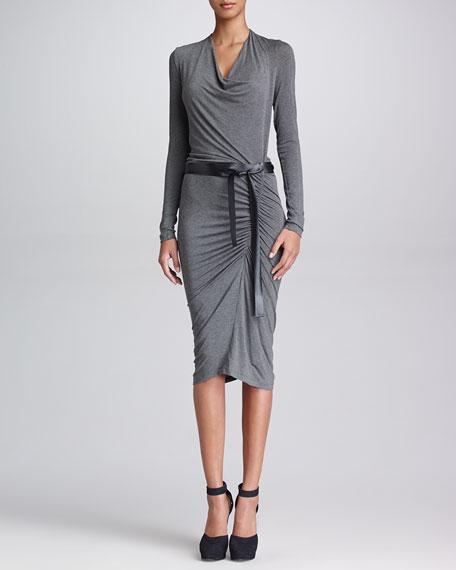 Long-Sleeve Heather Dress with Belt