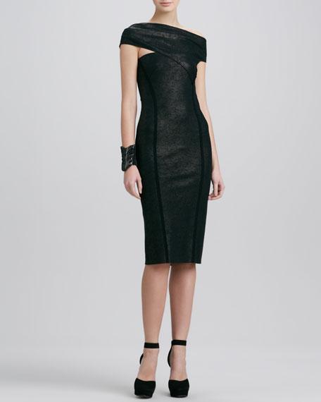 Asymmetric Cap-Sleeve Dress