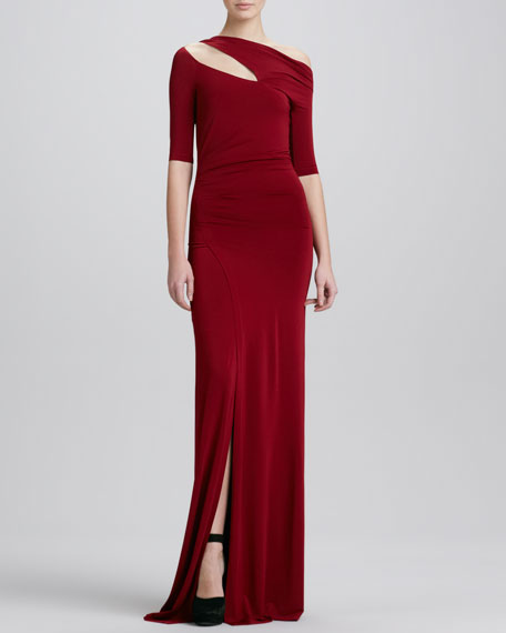 Half-Sleeve Cold-Shoulder Evening Gown, Red