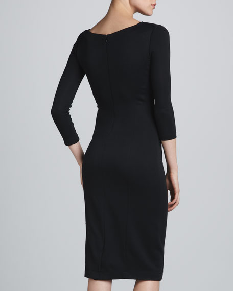 Three-Quarter-Sleeve Draped Dress