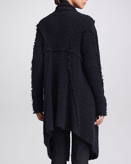 Cozy Convertible Boucle Jacket, Black